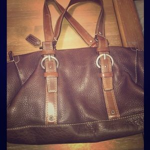 Pebbled brown leather coach bag